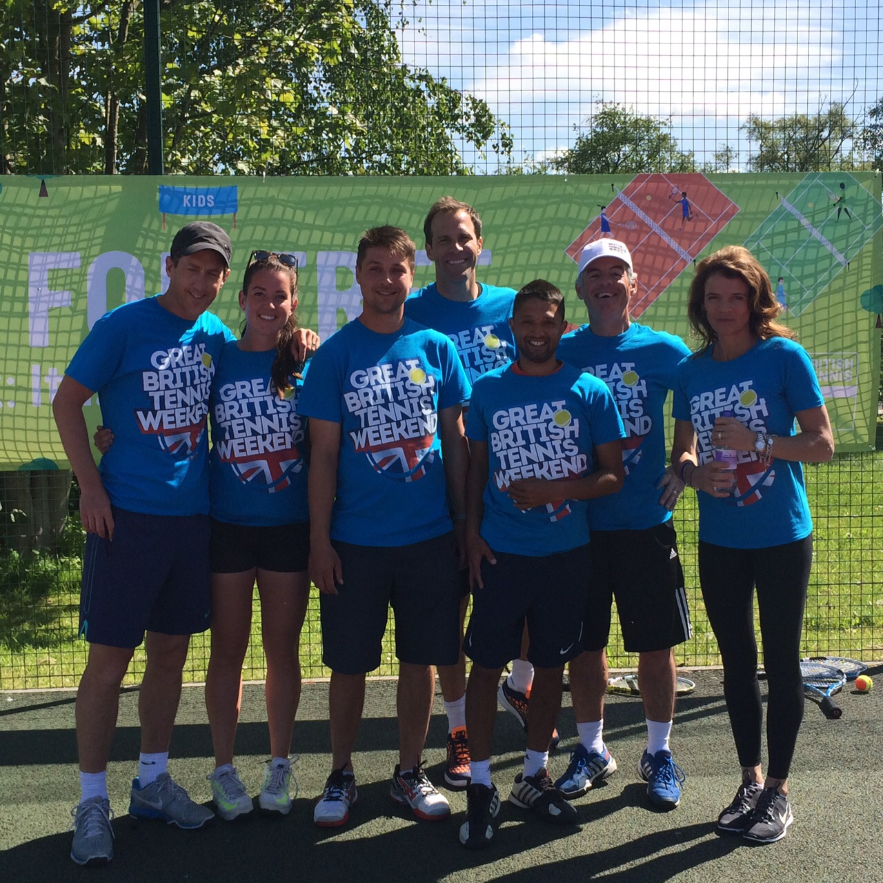 Myself and the Clapham team at the LTA Great British Tennis Weekend launch event with Greg Rusedski (Centre) and Annabel Croft (far right)